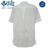 Branco de manga curta soltas Flowe-Pattern Malha gola redonda Blusa feminina