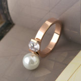 Fashion Jewelry Couples Acier inoxydable plaqué or Pearl Diamond Ring