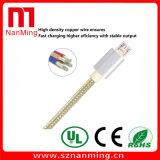 Câble micro de chargeur de caractéristiques de synchro du tissu tressé USB