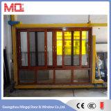3 Pistas de cristal doble de aluminio ventana deslizante con alambre de malla