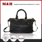 Echtes Leder-gesponnene schwarze Schulter-Arbeitsweg-Beutel PU-Handtaschen
