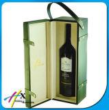 Pantalla de embalaje caja de regalo de cuero del vino