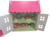Het houten Roze Stuk speelgoed van het Huis van Doll voor Jonge geitjes en Kinderen