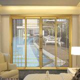 Châssis en métal français d'aluminium commercial se chevauchent porte coulissante en verre pour salle de l'intérieur