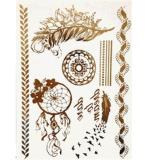 Стикер Tattoo цепи цветка пера металлический водоустойчивый временно