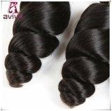 ペルーの緩い波のバージンの毛の倍のWeft人間の毛髪の拡張自然な黒