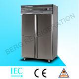 6 Puerta de acero inoxidable Congelador vertical