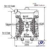 Bml-40d BSPTの延性がある鉄の陶磁器の企業のための物質的なダイヤフラムポンプ