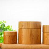 Casquillo de bambú o de madera con el tarro de la crema de la impresión de la transferencia del agua