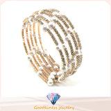 Nuova perla bianca con i braccialetti di modo dei monili della CZ & il braccialetto d'argento placcati oro di pietra (G41254)