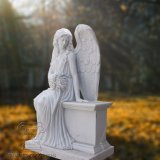 Große Qualitätshunan-materielle Marmorstatue des schönen Engels T-2403, Engels-Skulptur