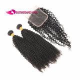 Бразильские Jerry волосы 100% Non-Remy Weave человеческих волос выдвижений курчавых волос связывают черноту #1b естественную