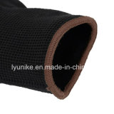 Сшитые из полиэстера перчатки с черным покрытием PU вещевого ящика