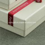 Rectángulo de regalo metálico de la joyería del papel de la textura con la decoración de la cinta