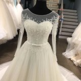 Длинняя вышивка шнурка втулки отбортовывая платье венчания