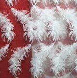 Tessile del merletto della piuma ricamata filato del latte per i vestiti delle donne