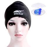 Noire large capuchon en silicone personnalisé nager avec protection de l'oreille (CAP-1102)