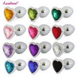 En forme de coeur En acier inoxydable Crystal Jewelry Anal Plug Sex Toys Taille moyenne 40mm X 90mm GS0210