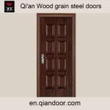 熱伝達の印刷された黒いクルミの鋼鉄前ドア
