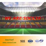 O gramado sintético para o campo de esportes, terra do futebol, terra de futebol, miúdo mmoeu com certificado do GV
