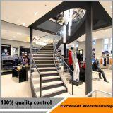 Modernes schraubenartiges Treppenhaus mit Marmortreppen-Schritt/gebogener Glastreppe mit Glasgeländer