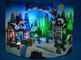 """Polyresin Weihnachten Kirche-Szene macht der Dekoration-9 """" mit beweglichem Wagen und transparentem Weihnachtsbaum, acht Weihnachtsliede in Handarbeit"""