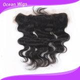Frontal basso di seta del merletto della chiusura del Virgin di prezzi all'ingrosso dei capelli 13*4 del Virgin dei capelli dell'onda peruviana umana del corpo (F-004)