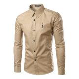 Chemise de robe mince de Brown d'ajustement de longue chemise (A432)