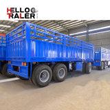 側面が付いている平面貨物完全なトレーラーを引っ張る3つの車軸輸送