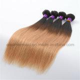 Человеческие волосы бразильянина цвета тона 2 Ombre #1b/27 прямо