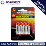 bateria seca alcalina preliminar de Digitas da manufatura de 1.5V China (LR03-AAA 8PCS)