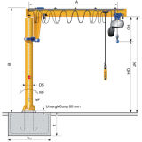Il BZ digita la gru a braccio girevole di vuotamento con il braccio di rotazione di 360 gradi