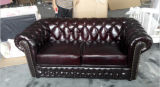 Chesterfield Leather Sofa Set con Leather italiano Sofa