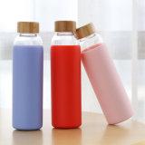 550ml sans BPA Bambou Couvercle en verre borosilicaté bouteille d'eau avec étui en silicone