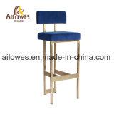 Mobiliário de bar / cafetaria Gold assento de tecido azul de aço inoxidável de alta contrapressão Cadeira Banqueta