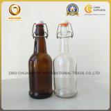 16oz陶磁器の振動帽子(584)が付いているこはく色のガラスビール瓶