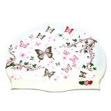 方法蝶シリコーンの水泳の帽子の防水水泳の帽子の女性-白