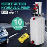 12VCC de l'unité de puissance hydraulique simple effet, la pompe, bennage de la remorque, lever 10 pinte