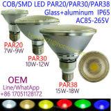 LED de sabugo OEM PAR38/PAR30/PAR20 Spotlight 7W 9W 10W 12W 15W 18W PAR38 IP65 Lâmpada Dimerizável 85-265V Glass+Alumínio E26 E27 Luz PAR 2700K, 3000K, 4000K, 6500K