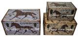 S/3 декоративные предметы антиквариата Vintage оленя дизайн прямоугольные печати фиолетового цвета кожи/MDF деревянные окна соединительных линий для хранения