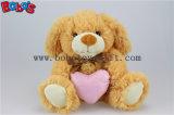 Коричневый щенок фаршированные игрушка для животных с розовым сердце подушка Бос1152