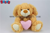 Brown chiot animal en peluche jouet avec coeur rose oreiller Bos1152