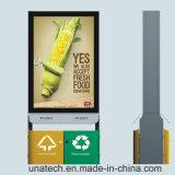 太陽LED屋外PVC旗媒体の金属はスクローリングゴミ箱のライトボックス屑できる