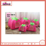 Casa curta do animal de estimação do uso do dobro da forma da morango do luxuoso na cor-de-rosa