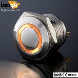 interruttore impermeabile dell'automobile del pulsante del metallo del breve ente di 19mm con il LED arancione
