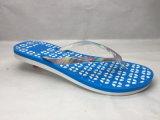 Удобные Flops Flip PVC/Pcu голубые с цветастой планкой (24ML1718)