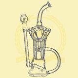 Grande conduite d'eau de fumage de conduite d'eau en verre de Borosilicate de tube de cuvette en verre de gant de baseball commun femelle droit de glace