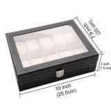 Коробка индикации вахты кожи PU 10 решеток с стеклянным окном