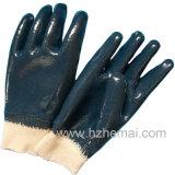 Tres sumergieron los guantes azules China del trabajo del nitrilo completamente