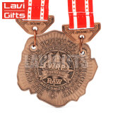 Medalla estampada diseño personalizada de encargo al por mayor del metal 3D
